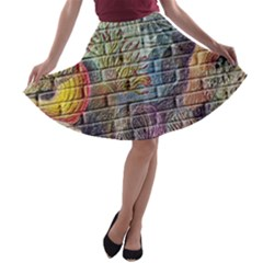 Brick Of Walls With Color Patterns A-line Skater Skirt
