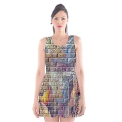 Brick Of Walls With Color Patterns Scoop Neck Skater Dress