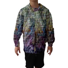 Brick Of Walls With Color Patterns Hooded Wind Breaker (Kids)