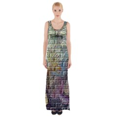 Brick Of Walls With Color Patterns Maxi Thigh Split Dress