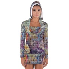 Brick Of Walls With Color Patterns Women s Long Sleeve Hooded T-shirt