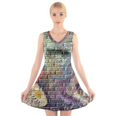 Brick Of Walls With Color Patterns V-Neck Sleeveless Skater Dress