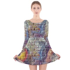 Brick Of Walls With Color Patterns Long Sleeve Velvet Skater Dress