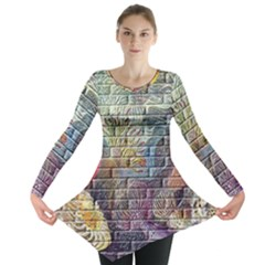 Brick Of Walls With Color Patterns Long Sleeve Tunic
