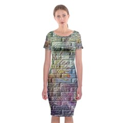 Brick Of Walls With Color Patterns Classic Short Sleeve Midi Dress