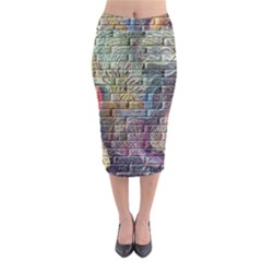 Brick Of Walls With Color Patterns Midi Pencil Skirt
