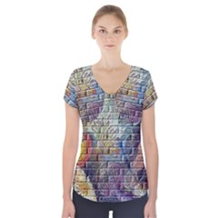 Brick Of Walls With Color Patterns Short Sleeve Front Detail Top