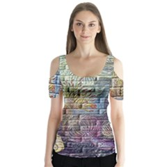 Brick Of Walls With Color Patterns Butterfly Sleeve Cutout Tee
