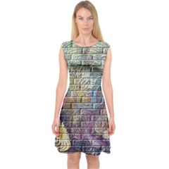 Brick Of Walls With Color Patterns Capsleeve Midi Dress