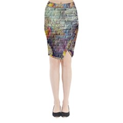 Brick Of Walls With Color Patterns Midi Wrap Pencil Skirt