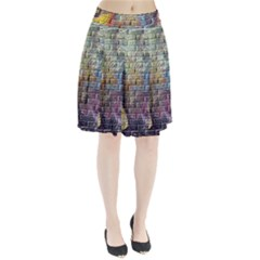 Brick Of Walls With Color Patterns Pleated Skirt