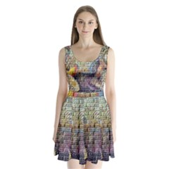 Brick Of Walls With Color Patterns Split Back Mini Dress