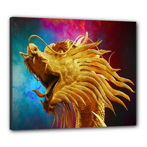 Broncefigur Golden Dragon Canvas 24  x 20