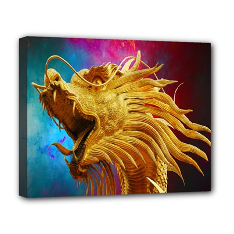 Broncefigur Golden Dragon Deluxe Canvas 20  x 16