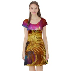 Broncefigur Golden Dragon Short Sleeve Skater Dress