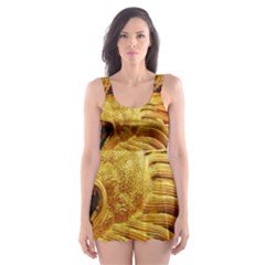 Broncefigur Golden Dragon Skater Dress Swimsuit