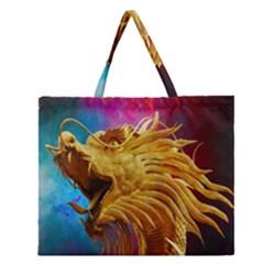 Broncefigur Golden Dragon Zipper Large Tote Bag