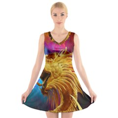 Broncefigur Golden Dragon V Neck Sleeveless Skater Dress