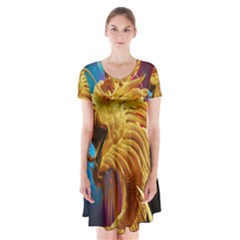 Broncefigur Golden Dragon Short Sleeve V-neck Flare Dress