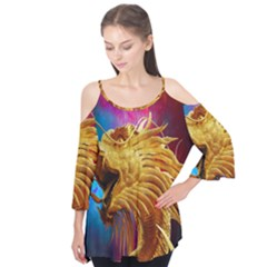 Broncefigur Golden Dragon Flutter Tees