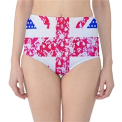 British Flag Abstract High-Waist Bikini Bottoms