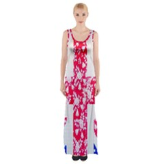 British Flag Abstract Maxi Thigh Split Dress