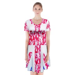 British Flag Abstract Short Sleeve V-neck Flare Dress