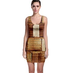 Brown Wall Tile Design Texture Pattern Sleeveless Bodycon Dress