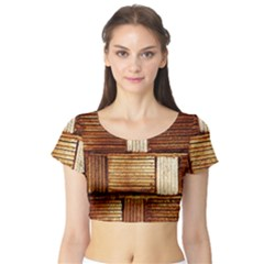 Brown Wall Tile Design Texture Pattern Short Sleeve Crop Top (Tight Fit)