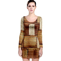 Brown Wall Tile Design Texture Pattern Long Sleeve Bodycon Dress