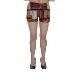Brown Wall Tile Design Texture Pattern Skinny Shorts