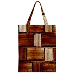 Brown Wall Tile Design Texture Pattern Zipper Classic Tote Bag
