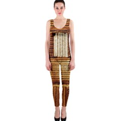 Brown Wall Tile Design Texture Pattern OnePiece Catsuit