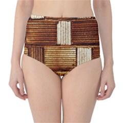 Brown Wall Tile Design Texture Pattern High-Waist Bikini Bottoms