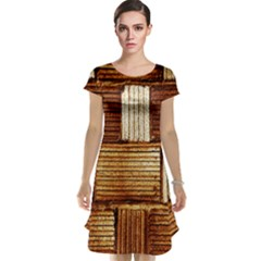 Brown Wall Tile Design Texture Pattern Cap Sleeve Nightdress