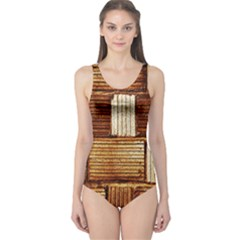 Brown Wall Tile Design Texture Pattern One Piece Swimsuit