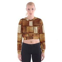 Brown Wall Tile Design Texture Pattern Women s Cropped Sweatshirt