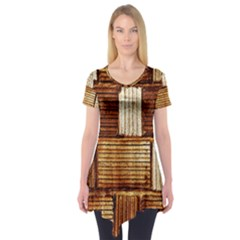 Brown Wall Tile Design Texture Pattern Short Sleeve Tunic