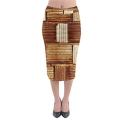 Brown Wall Tile Design Texture Pattern Midi Pencil Skirt