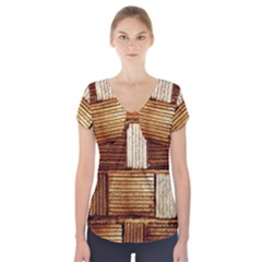 Brown Wall Tile Design Texture Pattern Short Sleeve Front Detail Top