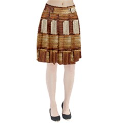Brown Wall Tile Design Texture Pattern Pleated Skirt
