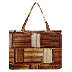 Brown Wall Tile Design Texture Pattern Medium Zipper Tote Bag