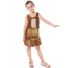 Brown Wall Tile Design Texture Pattern Kids  Sleeveless Dress