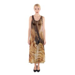 Brown Beige Abstract Painting Sleeveless Maxi Dress