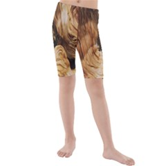 Brown Beige Abstract Painting Kids  Mid Length Swim Shorts
