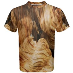 Brown Beige Abstract Painting Men s Cotton Tee