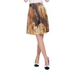 Brown Beige Abstract Painting A-Line Skirt