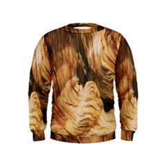 Brown Beige Abstract Painting Kids  Sweatshirt