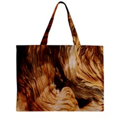 Brown Beige Abstract Painting Zipper Mini Tote Bag
