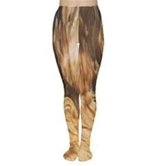 Brown Beige Abstract Painting Women s Tights